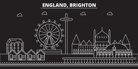 Brighton silhouette skyline. Great Britain - Brighton vector city, british linear architecture, buildings. Brighton line travel illustration, landmarks. Great Britain flat icon, british outline design banner
