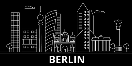 Berlin silhouette, skyline. Germany - Berlin vector city, german linear architecture, buildings. Berlin line travel illustration, landmarks. Germany flat icon, german outline design banner