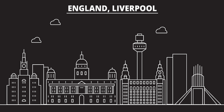 Liverpool silhouette skyline. Great Britain - Liverpool vector city, british linear architecture, buildings. Liverpool travel illustration, outline landmarks. Great Britain flat icon, british line design banner Illustration