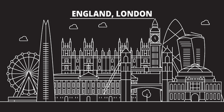 London silhouette skyline. Great Britain - London vector city, british linear architecture, buildings. London line travel illustration, landmarks. Great Britain flat icon, british outline design banner Illustration