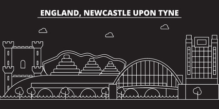 Newcastle upon Tyne silhouette skyline. Great Britain - Newcastle upon Tyne vector city, british linear architecture, buildings. Newcastle upon Tyne line travel illustration, landmarks. Great Britain flat icon, british outline design banner