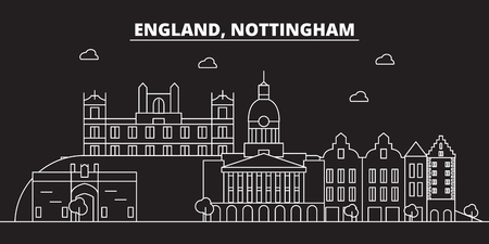 Nottingham silhouette skyline. Great Britain - Nottingham vector city, british linear architecture, buildings. Nottingham line travel illustration, landmarks. Great Britain flat icon, british outline design banner