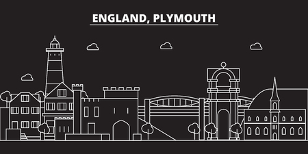 Plymouth silhouette skyline. Great Britain - Plymouth vector city, british linear architecture, buildings. Plymouth line travel illustration, landmarks. Great Britain flat icon, british outline design banner Stock Vector - 102159238