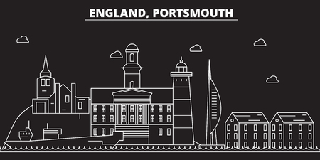 Portsmouth silhouette skyline. Great Britain - Portsmouth vector city, british linear architecture, buildings. Portsmouth line travel illustration, landmarks. Great Britain flat icon, british outline design banner