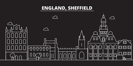 Sheffield silhouette skyline. Great Britain - Sheffield vector city, british linear architecture, buildings. Sheffield line travel illustration, landmarks. Great Britain flat icon, british outline design banner