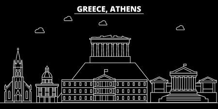 Athens silhouette skyline. Greece - Athens vector city, greek linear architecture, buildings. Athens line travel illustration, landmarks. Greece flat icon, greek outline design banner Illustration