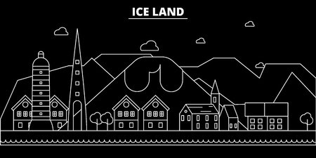 Iceland silhouette skyline, vector city, linear architecture, buildingtravel, illustration, outline landmarks. Iceland flat icon, Icelandic line banner