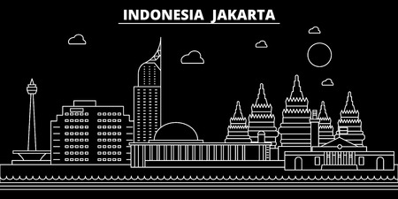 Jakarta silhouette skyline. Indonesia - Jakarta vector city, indonesian linear architecture, buildings. Jakarta line travel illustration, landmarks. Indonesia flat icon, indonesian outline design banner