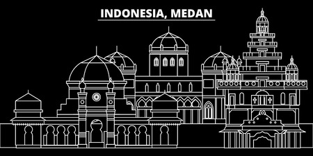 Medan silhouette skyline. Indonesia - Medan vector city, indonesian linear architecture, buildings. Medan line travel illustration, landmarks. Indonesia flat icon, indonesian outline design banner