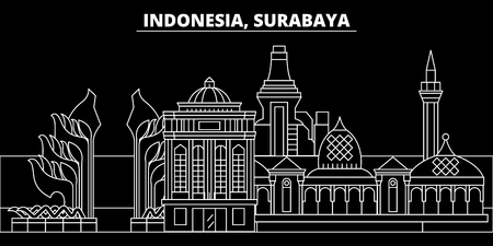 Surabaya silhouette skyline. Indonesia - Surabaya vector city, indonesian linear architecture, buildings. Surabaya line travel illustration, landmarks. Indonesia flat icon, indonesian outline design banner