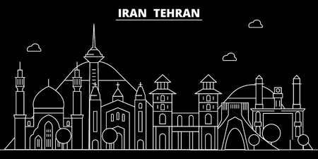 Tehran silhouette skyline. Iran - Tehran vector city, iranian linear architecture, buildings. Tehran line travel illustration, landmarks. Iran flat icon, iranian outline design banner Çizim