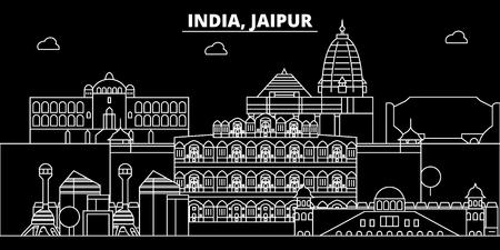 Jaipur silhouette skyline. India - Jaipur vector city, indian linear architecture, buildings. Jaipur line travel illustration, landmarks. India flat icon, indian outline design banner Illustration
