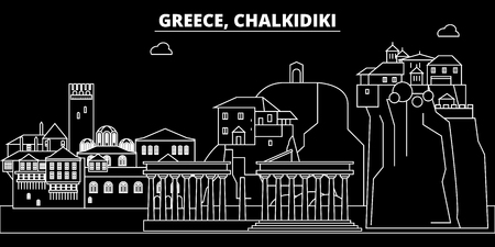 Chalkidiki silhouette skyline. Greece - Chalkidiki vector city, greek linear architecture, buildings. Chalkidiki line travel illustration, landmarks. Greece flat icon, greek outline design banner