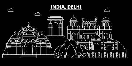 Delhi silhouette skyline. India - Delhi vector city, indian linear architecture, buildings. Delhi line travel illustration, landmarks. India flat icon, indian outline design banner Foto de archivo - 102159269