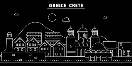 Crete silhouette skyline. Greece - Crete vector city, greek linear architecture, buildings. Crete line travel illustration, landmarks. Greece flat icon, greek outline design banner Ilustração