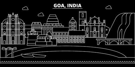 Goa silhouette skyline. India - Goa vector city, indian linear architecture, buildings. Goa line travel illustration, landmarks. India flat icon, indian outline design banner