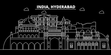 Hyderabad silhouette skyline. India - Hyderabad vector city, indian linear architecture, buildings. Hyderabad line travel illustration, landmarks. India flat icon, indian outline design banner Illustration
