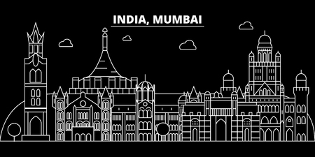 Mumbai silhouette skyline. India - Mumbai vector city, indian linear architecture, buildings. Mumbai line travel illustration, landmarks. India flat icon, indian outline design banner