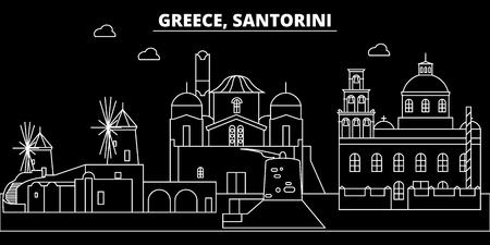 Santorini silhouette skyline. Greece - Santorini vector city, greek linear architecture, buildings. Santorini line travel illustration, landmarks. Greece flat icon, greek outline design banner