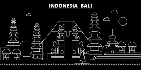 Bali silhouette skyline. Indonesia - Bali vector city, indonesian linear architecture, buildings. Bali line travel illustration, landmarks. Indonesia flat icon, indonesian outline design banner Иллюстрация