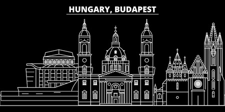Budapest city silhouette skyline. Hungary - Budapest city vector city, hungarian linear architecture, buildings. Budapest city line travel illustration, landmarks. Hungary flat icon, hungarian outline design banner Illustration