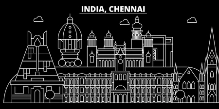 Chennai silhouette skyline. India - Chennai vector city, indian linear architecture, buildings. Chennai line travel illustration, landmarks. India flat icon, indian outline design banner