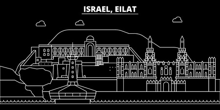 Eilat silhouette skyline. Israel - Eilat vector city, israeli linear architecture, buildings. Eilat line travel illustration, landmarks. Israel flat icon, israeli outline design banner