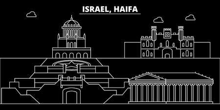 Haifa silhouette skyline. Israel - Haifa vector city, israeli linear architecture, buildings. Haifa line travel illustration, landmarks. Israel flat icon, israeli outline design banner Illustration