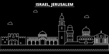 Jerusalim silhouette skyline. Israel - Jerusalim vector city, israeli linear architecture, buildings. Jerusalim line travel illustration, landmarks. Israel flat icon, israeli outline design banner Illustration
