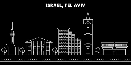 Tel aviv silhouette skyline. Israel - Tel aviv vector city, israeli linear architecture, buildings. Tel aviv line travel illustration, landmarks. Israel flat icon, israeli outline design banner
