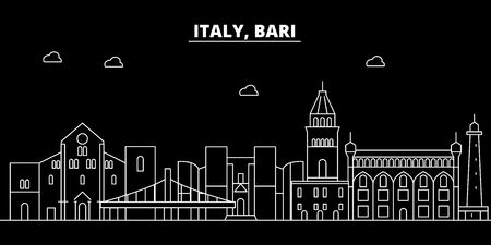 Bari silhouette skyline. Italy - Bari vector city, italian linear architecture, buildings. Bari line travel illustration, landmarks. Italy flat icon, italian outline design banner
