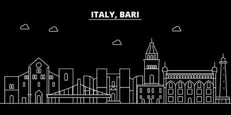 Bari silhouette skyline. Italy - Bari vector city, italian linear architecture, buildings. Bari line travel illustration, landmarks. Italy flat icon, italian outline design banner