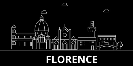 Florence silhouette skyline. Italy - Florence vector city, italian linear architecture, buildings. Florence line travel illustration, landmarks. Italy flat icon, italian outline design banner