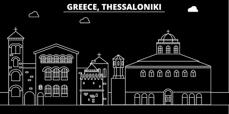 Thessaloniki silhouette skyline. Greece - Thessaloniki vector city, greek linear architecture, buildings. Thessaloniki line travel illustration, landmarks. Greece flat icon, greek outline design banner Illustration