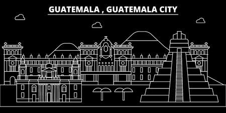 Guatemala silhouette skyline, vector city, guatemalan linear architecture, buildings. Guatemala travel illustration, outline landmarkflat icon, guatemalan line banner