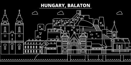 Balaton silhouette skyline. Hungary - Balaton vector city, hungarian linear architecture, buildings. Balaton line travel illustration, landmarks. Hungary flat icon, hungarian outline design banner Banque d'images - 102159474