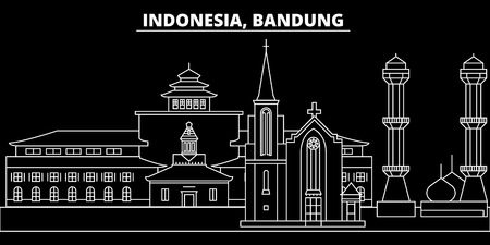 Bandung silhouette skyline. Indonesia - Bandung vector city, indonesian linear architecture, buildings. Bandung line travel illustration, landmarks. Indonesia flat icon, indonesian outline design banner