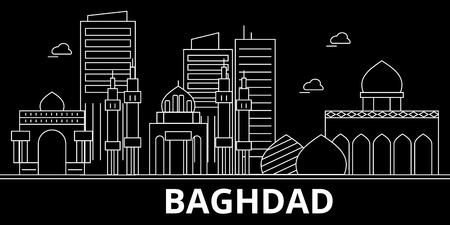 Baghdad silhouette skyline. Iraq - Baghdad vector city, iraqi linear architecture, buildings. Baghdad line travel illustration, landmarks. Iraq flat icon, iraqi outline design banner