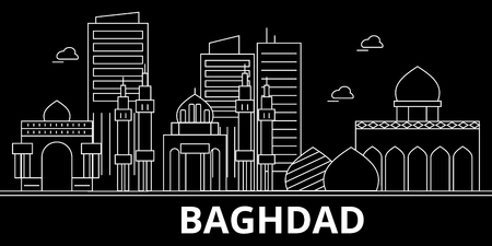 Baghdad silhouette skyline. Iraq - Baghdad vector city, iraqi linear architecture, buildings. Baghdad line travel illustration, landmarks. Iraq flat icon, iraqi outline design banner