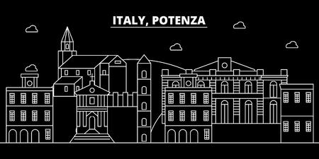 Potenza silhouette skyline. Italy - Potenza vector city, italian linear architecture, buildings. Potenza line travel illustration, landmarks. Italy flat icon, italian outline design banner Vettoriali