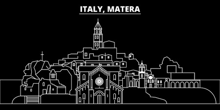 Matera silhouette skyline. Italy - Matera vector city, italian linear architecture, buildings. Matera line travel illustration, landmarks. Italy flat icon, italian outline design banner Ilustração