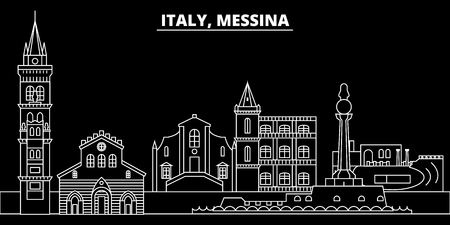 Messina silhouette skyline. Italy - Messina vector city, italian linear architecture, buildings. Messina line travel illustration, landmarks. Italy flat icon, italian outline design banner Illustration