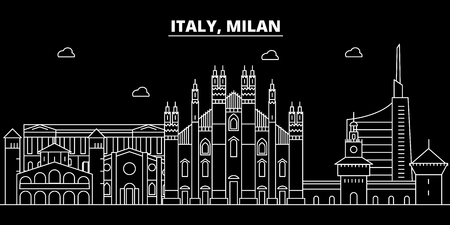 Milan city silhouette skyline. Italy - Milan city vector city, italian linear architecture, buildings. Milan city line travel illustration, landmarks. Italy flat icon, italian outline design banner Stock Illustratie