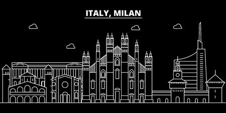 Milan city silhouette skyline. Italy - Milan city vector city, italian linear architecture, buildings. Milan city line travel illustration, landmarks. Italy flat icon, italian outline design banner Illustration