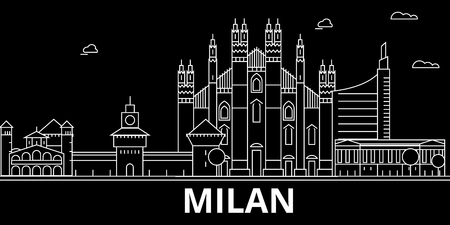 Milan silhouette skyline. Italy - Milan vector city, italian linear architecture, buildings. Milan line travel illustration, landmarks. Italy flat icon, italian outline design banner