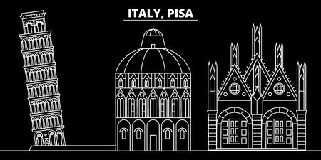 Pisa silhouette skyline. Italy - Pisa vector city, italian linear architecture, buildings. Pisa line travel illustration, landmarks. Italy flat icon, italian outline design banner  イラスト・ベクター素材
