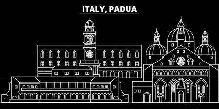 Padua silhouette skyline. Italy - Padua vector city, italian linear architecture, buildings. Padua line travel illustration, landmarks. Italy flat icon, italian outline design banner