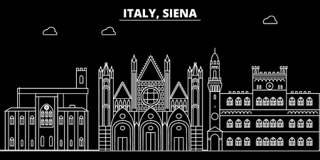 Siena silhouette skyline. Italy - Siena vector city, italian linear architecture, buildings. Siena line travel illustration, landmarks. Italy flat icon, italian outline design banner Illustration