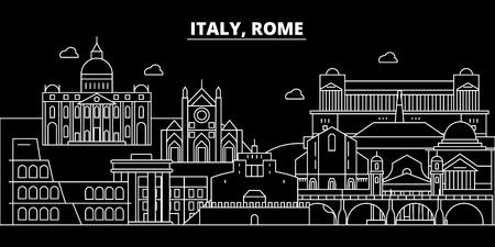 Rome city silhouette skyline. Italy - Rome city vector city, italian linear architecture, buildings. Rome city line travel illustration, landmarks. Italy flat icon, italian outline design banner Archivio Fotografico - 102159631