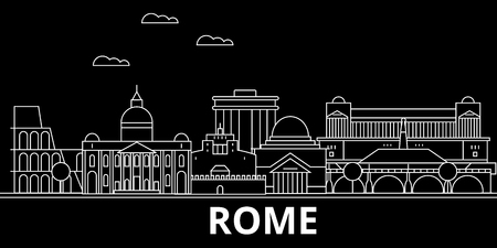 Rome silhouette skyline. Italy - Rome vector city, italian linear architecture, buildings. Rome line travel illustration, landmarks. Italy flat icon, italian outline design banner 일러스트